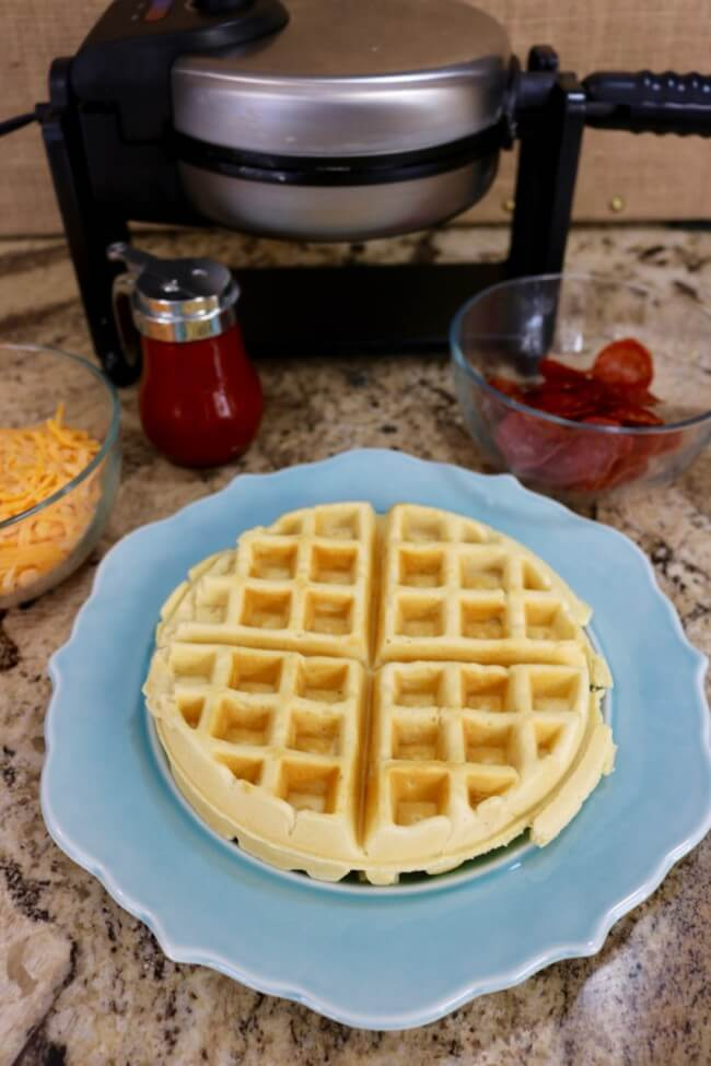 Easy Recipe for Waffle Pizza means kids eat more variety - try veggies, three cheese or meat-lovers for a tasty kid lunch