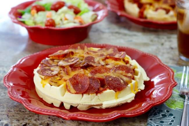 Serve this easy recipe for Waffle Pizza with a salad for a well-rounded lunch or dinner
