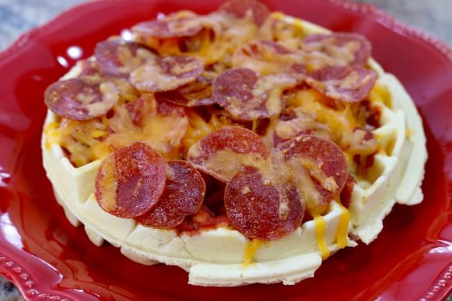 Te perfect idea for family fun and kid-friendly eating - Waffle Pizza - easy to make and even more fun to eat