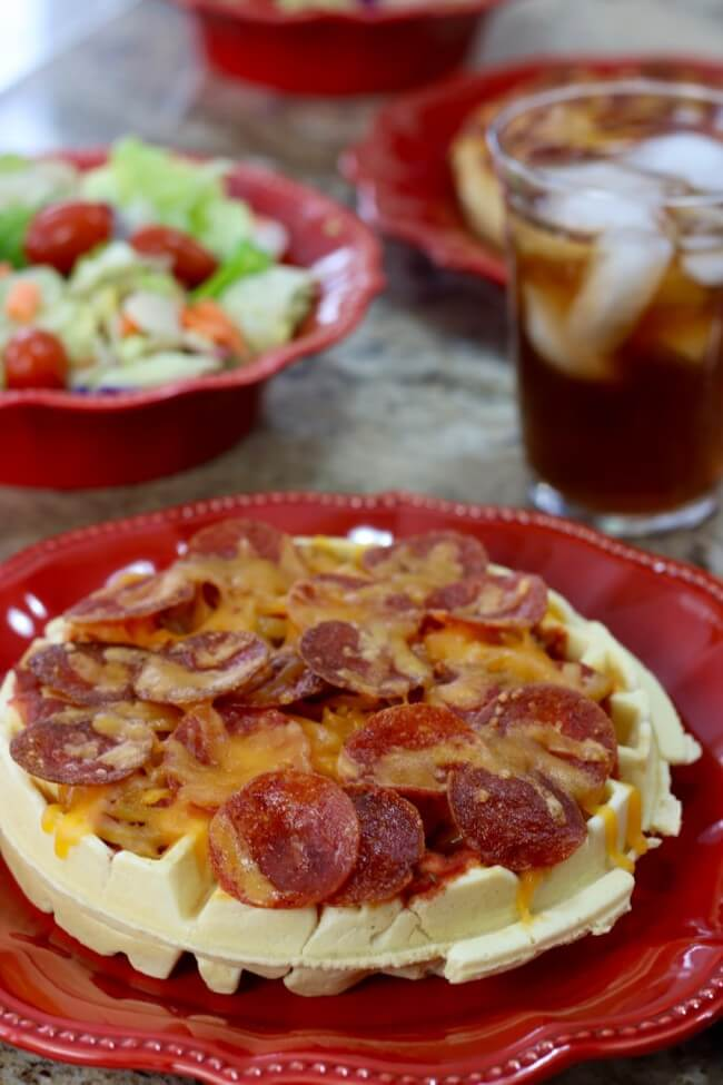 Get kids to eat more variety with Waffle Pizza - try meat lovers, three cheese, traditional or veggie packed for a fun and tasty kid lunch