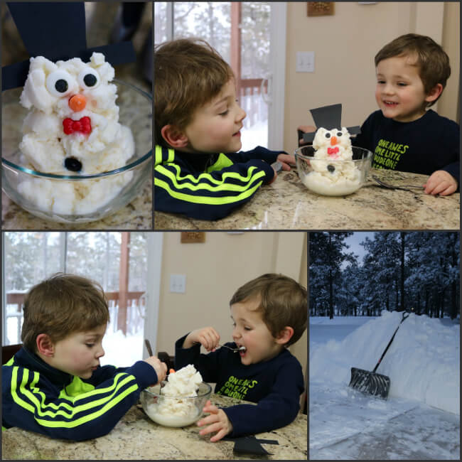 When a Blizzard hit - we made Snowman Snow Ice Cream