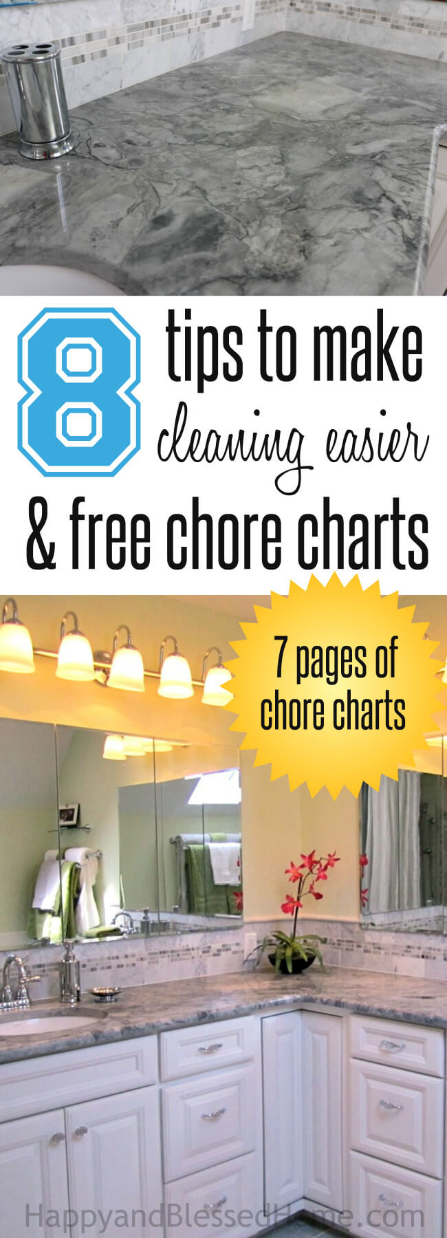 8 Tips to make cleaning easier plus 7 Pages of Chore Charts for Kids - I love idea #7