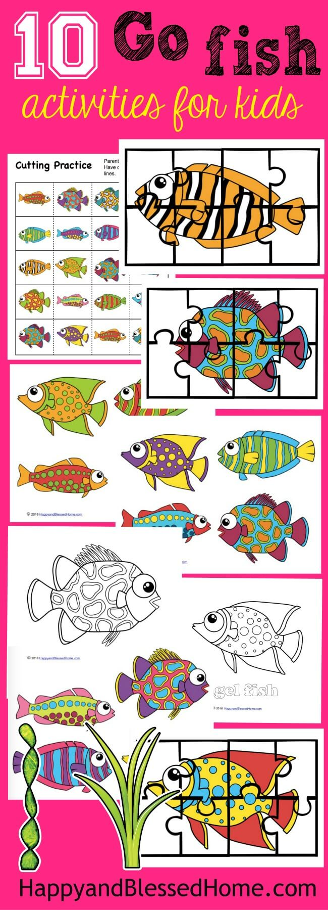 Colorful fun activity pack for kids with 10 Go Fish activities including fish you can actually use for fishing
