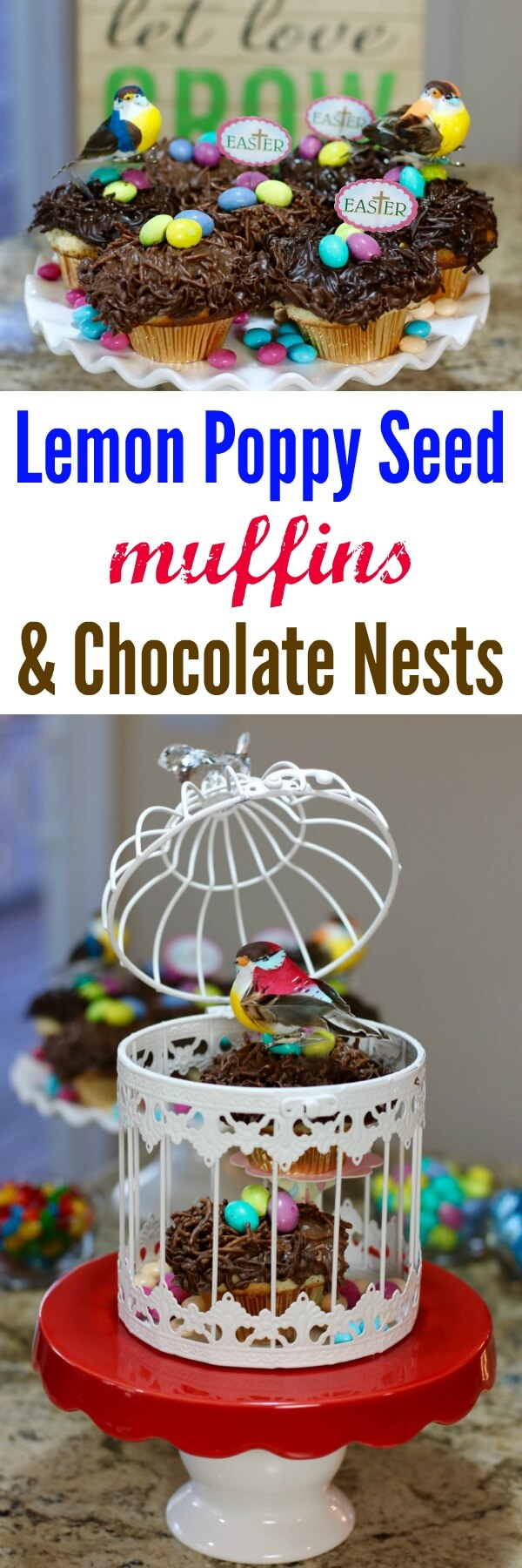 Create beautiful birds' nests for spring with this easy tutorial for Lemon Poppy Seed Muffins and Chocolate Nests - I love how she gets the birds to float above the nests