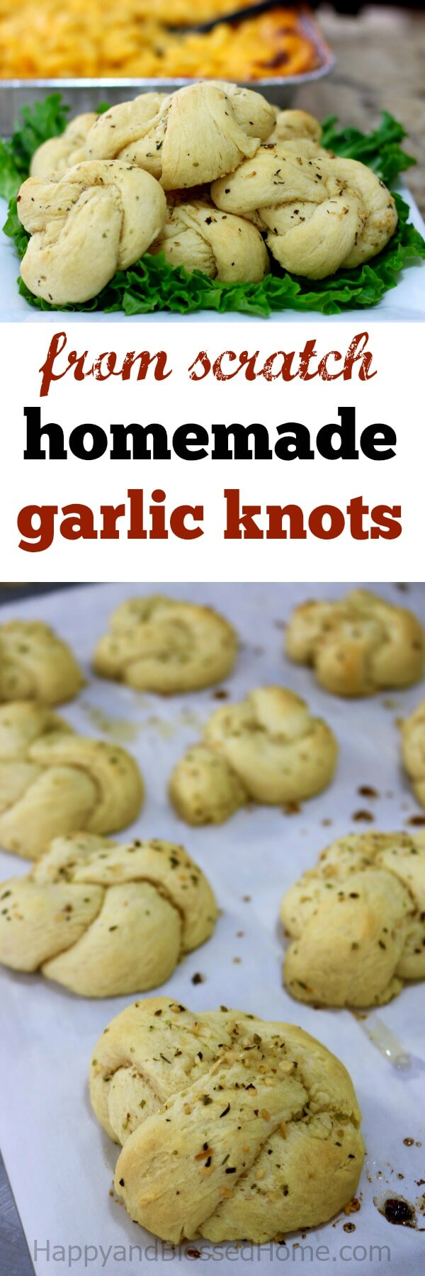 Easy to make homemade garlic knots from scratch - excellent flavor and flaky dough!