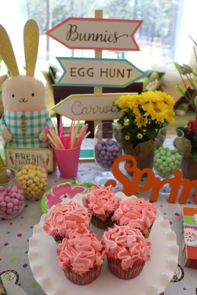Easter Party Decorations, a kid's Easter Activitiy Pack and Pink Champagne Cupcakes Recipe