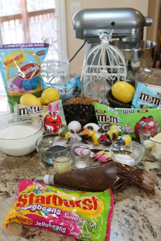 "Ingredients for An easy recipe for Lemon Poppyseed Muffins and Chocolate Nests & tips on how to ""float"" birds above the nests with M&M's® Easter candies."
