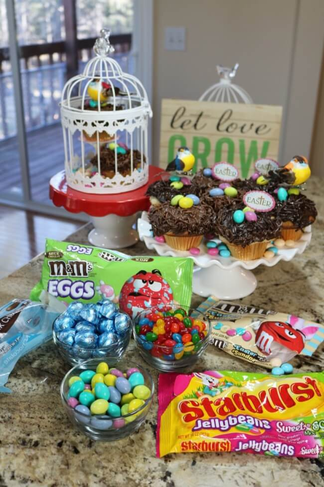 "Candy ingredients for An easy recipe for Lemon Poppyseed Muffins and Chocolate Nests & tips on how to ""float"" birds above the nests with M&M's® Easter candies."