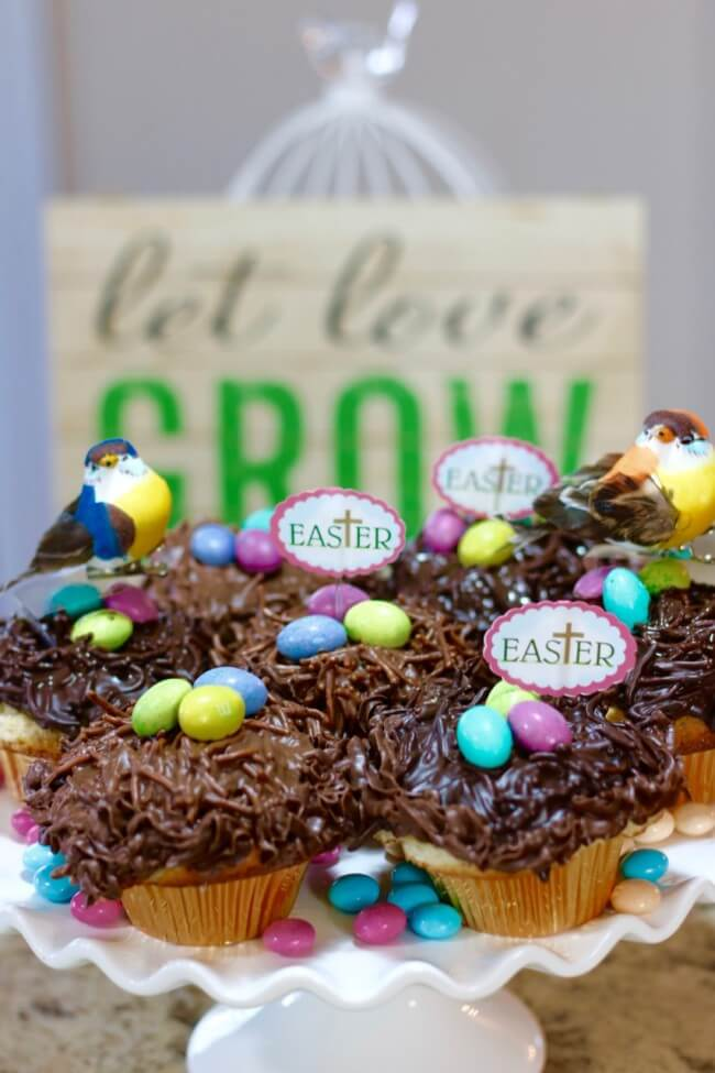 "An Easter centerpiece: An easy recipe for Lemon Poppy Seed Muffins and Chocolate Nests & tips on how to ""float"" birds above the nests with M&M's® Easter candies."