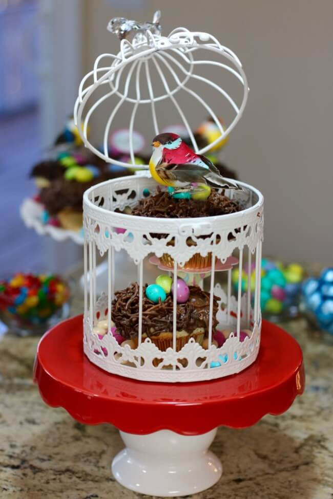 "An easy recipe for Lemon Poppy Seed Muffins and Chocolate Nests & tips on how to ""float"" birds above the nests with M&M's® Easter candies."