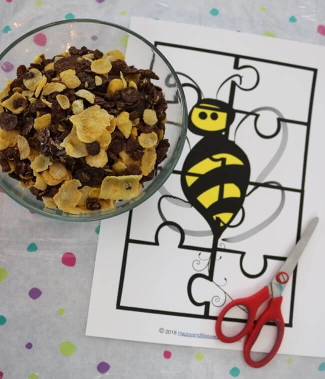 Easy cereal snacks and 20 Page Fun Bee Activity Pack for Kids