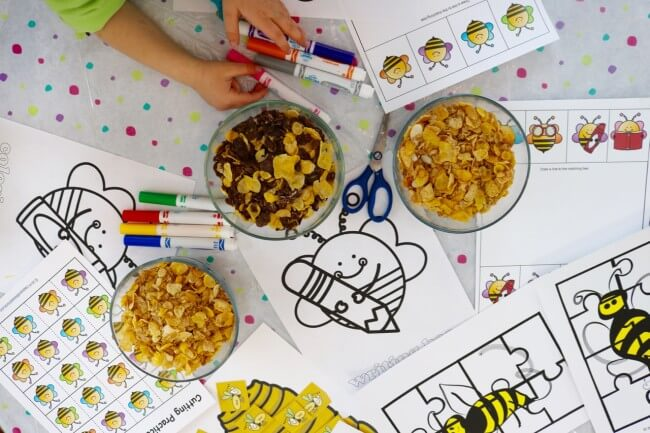 Materials needed for 20 Page Fun Bee Activity Pack for Kids and Cereal Snacks