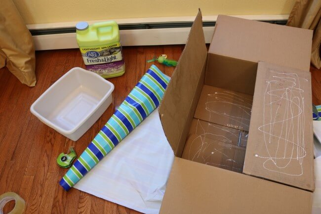 You'll need wrapping paper for this Kitty Cabana Cat Craft
