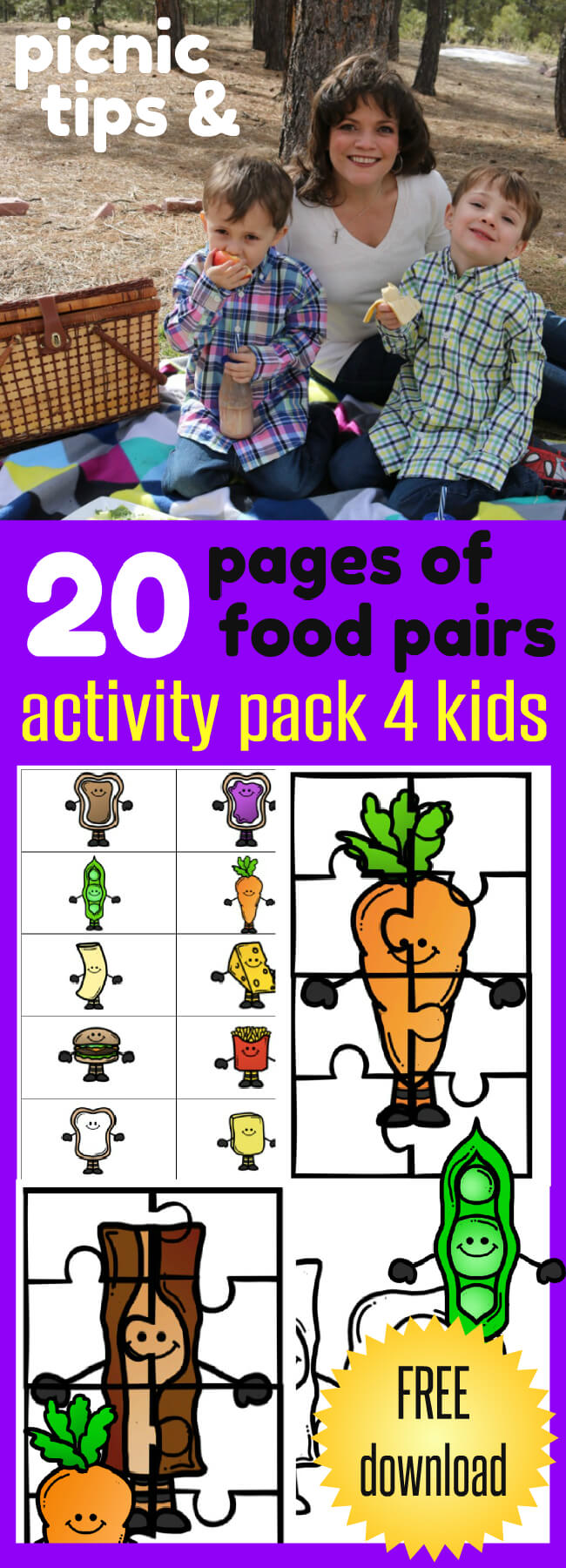 Picnic Tips and FREE printable 20 Pages of food pairs activity pack for kids - fun for the whole family from HappyandBlessedHome.com