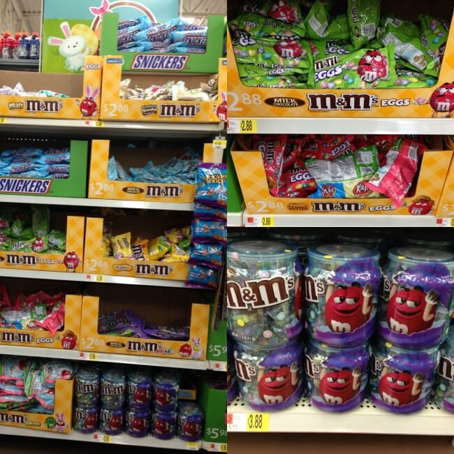 So many choices for M&Ms candies at Walmart for Easter