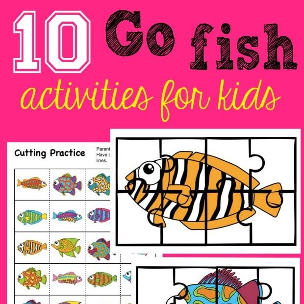 Super fun activity pack for kids with 10 Go Fish activities including fish you can actually use for fishing