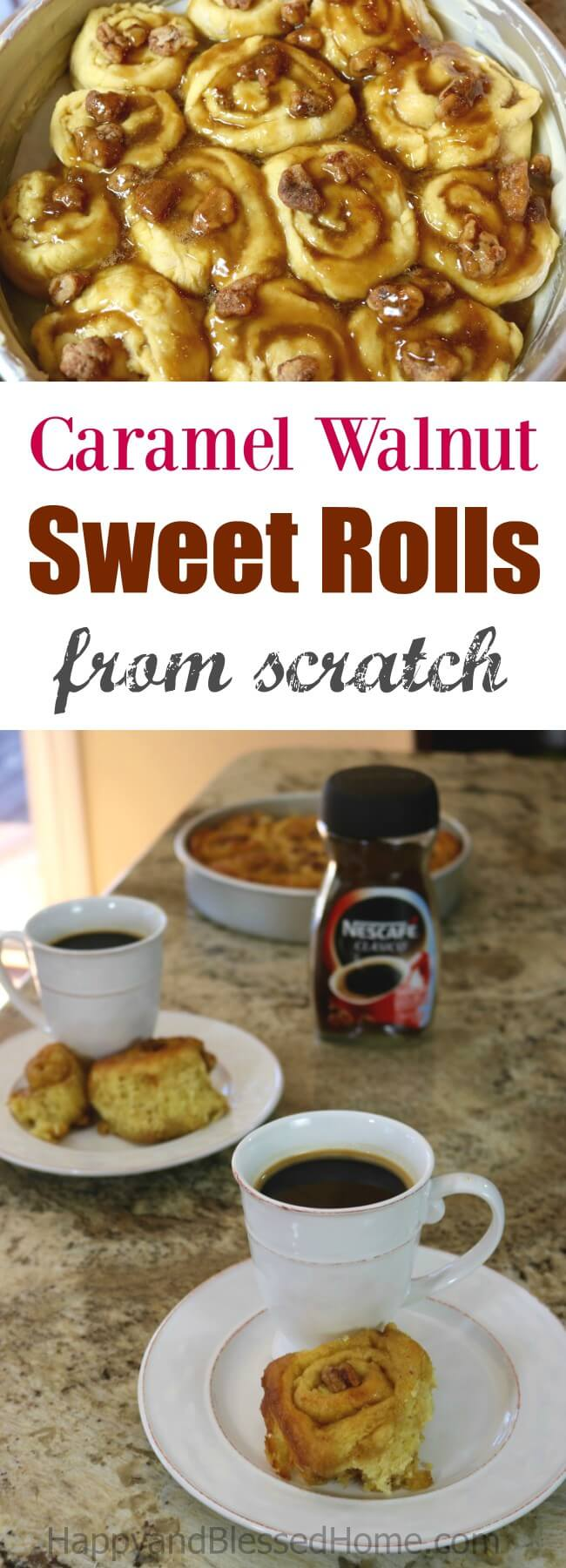 Easy Recipe for Caramel Walnut Sweet Rolls from Scratch - perfect fpr breakfast or as an after dinner dessrt