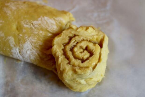 The swirl center of the Caramel Walnut Sweet Rolls