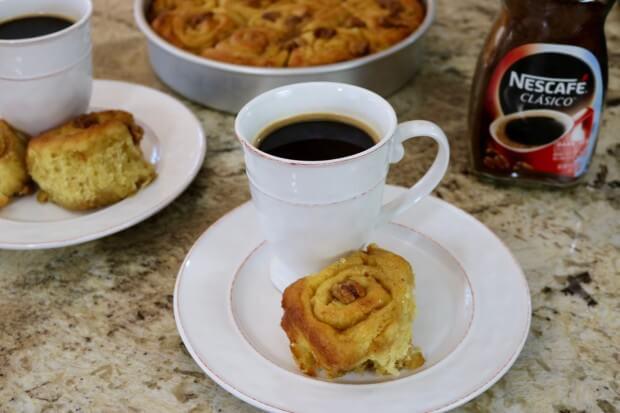 Caramel Walnut Sweet Rolls with NESCAFE Coffee