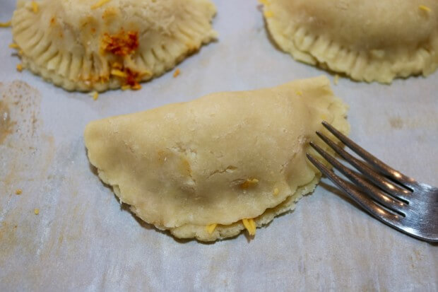 Crimp the discs for this Easy Recipe: Shredded Chicken Empanadas from Scratch