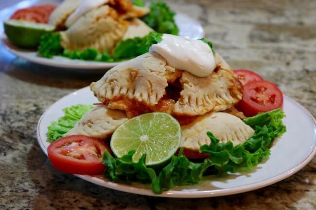 Serve with fresh veggies - an Easy Recipe: Shredded Chicken Empanadas from Scratch