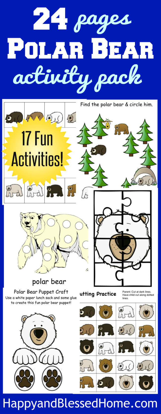 17 Fun Activities for Kids in this 24 Pages of Polar Bear Activities Pack