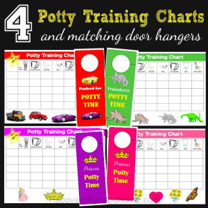 4 Potty Training Charts and Matching Door Hangers