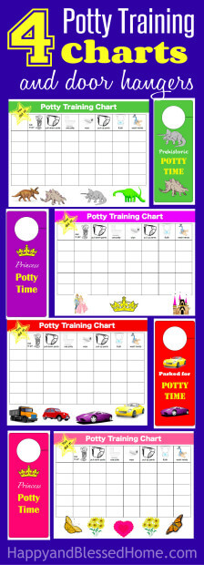 4 Styles of Potty Training Charts for Boys and Girls and Door Hangers - great for rewarding potty training efforts