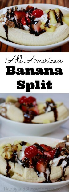 An easy recipe for an All American Banana Split - includes video tutorial