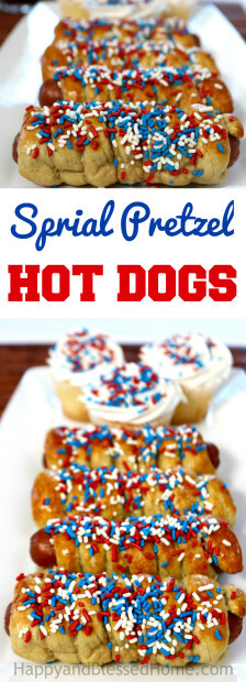 Easy Recipe for Sprial Pretzel Hot Dogs - perk up your next outdoor BBQ