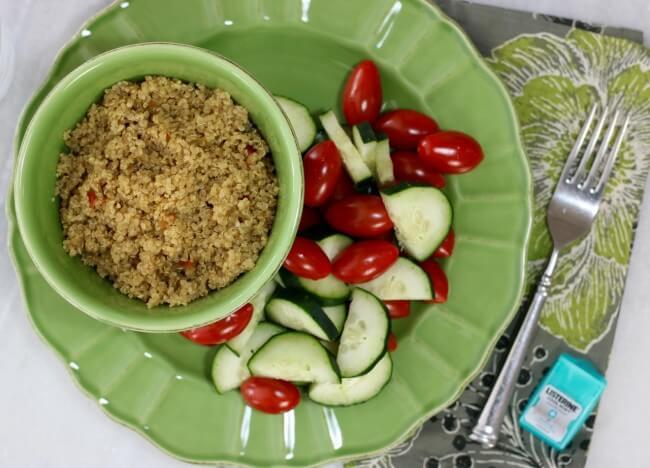 FREE Printable Menu Plan: 5 Healthy Lunches at 450 Calories each - Couscous Veggie Salad