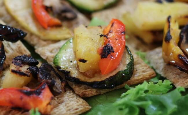 Grilled Pineapple, red bell pepper and zucchini in this easy Hawaiian Grilled Summer Vegetables Recipe