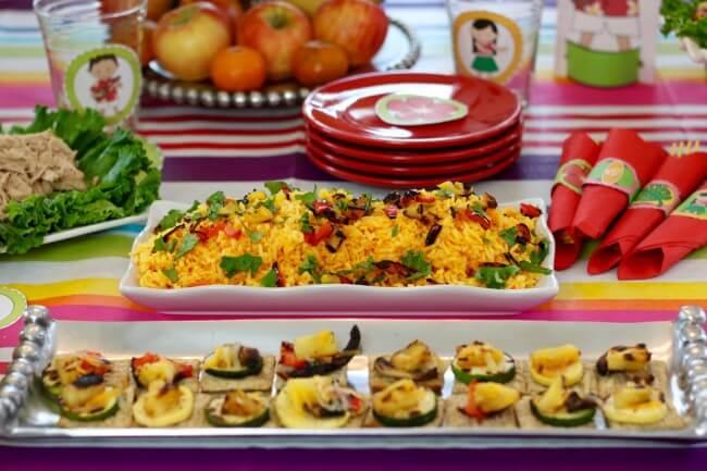 Hawaiian themed rice plus 50 Page Hawaiian Luau Party Pack and Hawaiian Luau Party Tutorial plus an easy Hawaiian Grilled Summer Vegetables Recipe