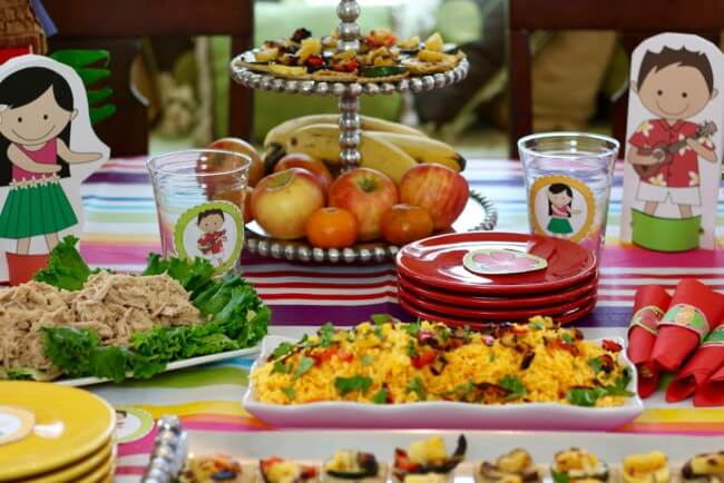 50 Page Hawaiian Luau Party Pack and Hawaiian Luau Party Tutorial plus a tasty Hawaiian Grilled Summer Vegetables Recipe