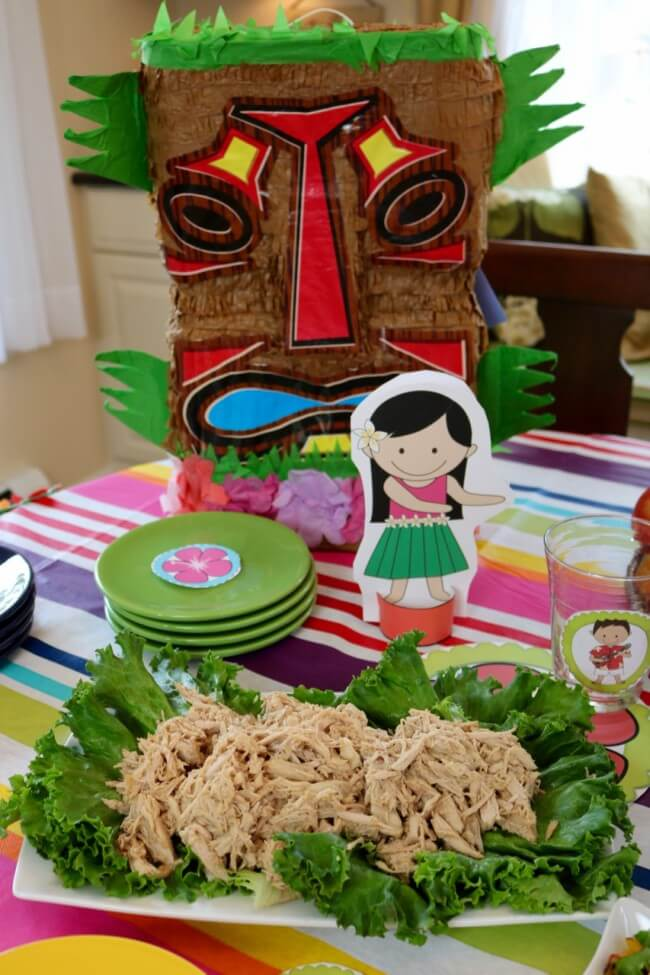 Easy Pulled Pork plus 50 Page Hawaiian Luau Party Pack and Hawaiian Luau Party Tutorial plus an easy Hawaiian Grilled Summer Vegetables Recipe
