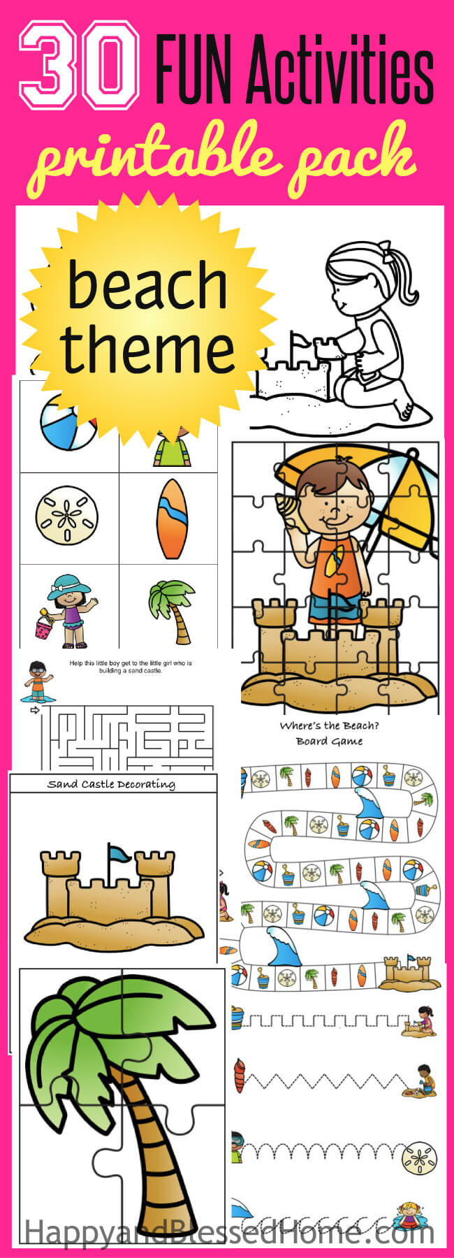 30 FUN Beach Themed Activities Printables Pack - great fun for kids!