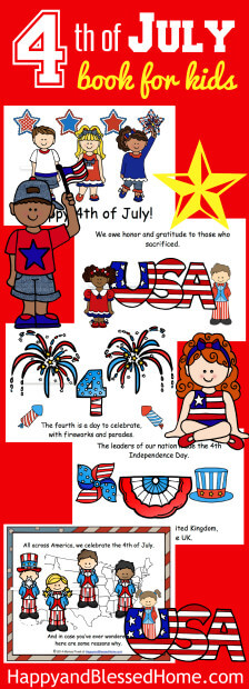 FUN Patriotic 4th of July Book for Kids by HappyandBlessedHome.com