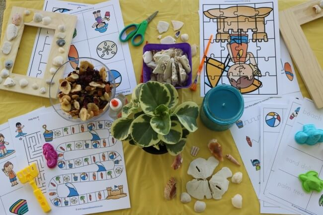 FREE Fun 27 Page Beach Activity Pack - Bring the Tropics Home with fun activities for kids: seashell crafts, tropical lemonade punch, trail mix and more.