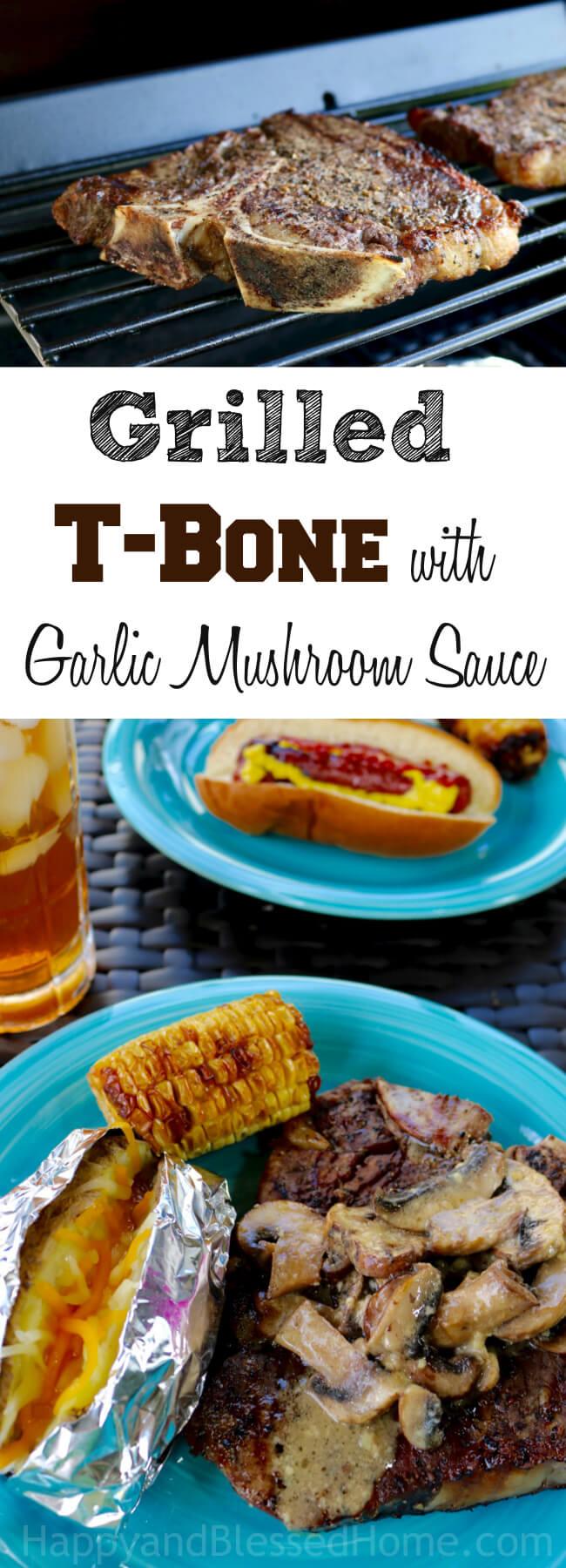 Juicy and Tender - Grilled T-Bone with Garlic Mushroom Sauce