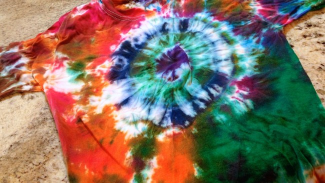 Orange and Green Tie-Dye Bull's-Eye T-shirt