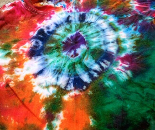 Orange and Green Tye Dye Bullseye T-shirt