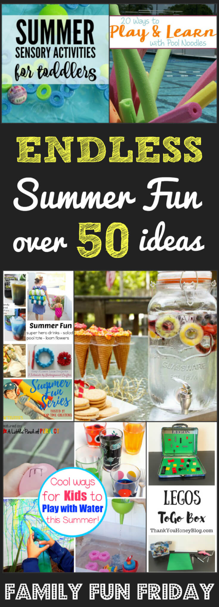 Endless Summer FUN with over 50 ideas for play in water and sun! Family Fun Friday