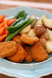 Tyson Chicken Nuggets with fresh potatoes, green beans, and carrots