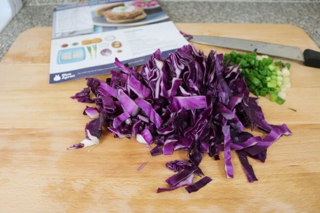 Red cabbage goes perfectly with this Blue Apron recipe for Maryland-Style Cod Cakes