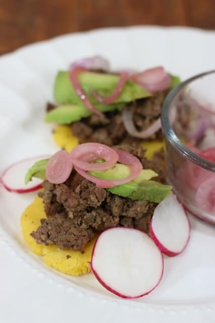 Savory onions and sweet radishes for Blue Apron Beef Arepas by HappyandBlessedHome.com