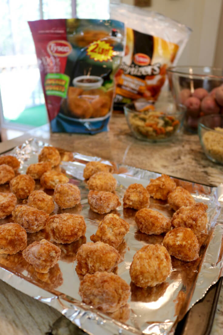 Just bake and eat - Tyson chicken nuggets take just around 20 minutes to bake