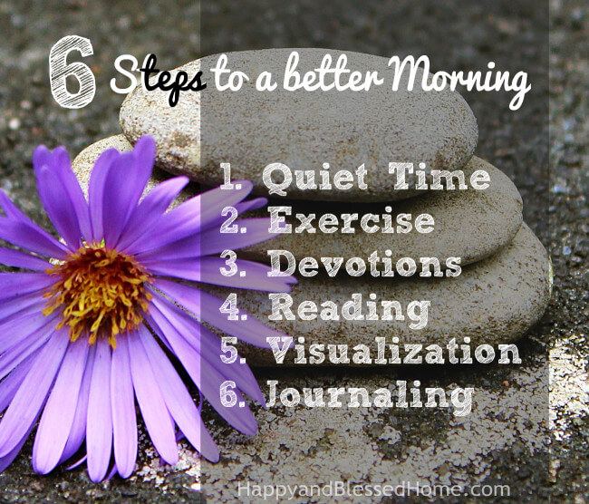 Six Steps to a Better Morning - Printable by HappyandBlessedHome.com Copyright 2016