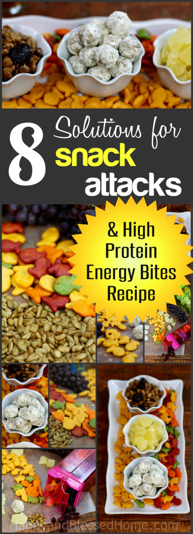 8 Solutions for Snack Attacks plus a peanut-free High Protein Energy Bites Recipe