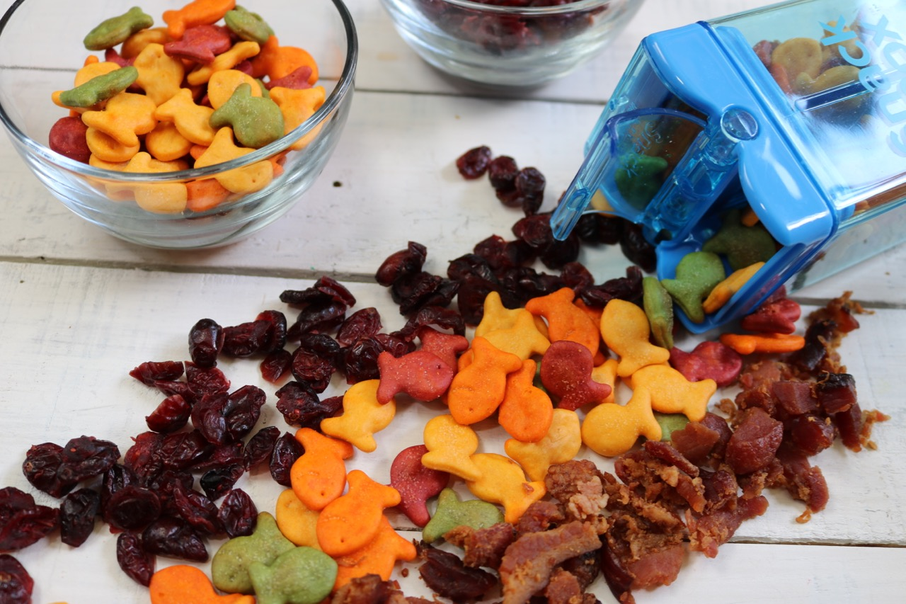 Protein Packed Snack - Bacon, Cranberry and Goldfish crackers Snack Mix Recipe
