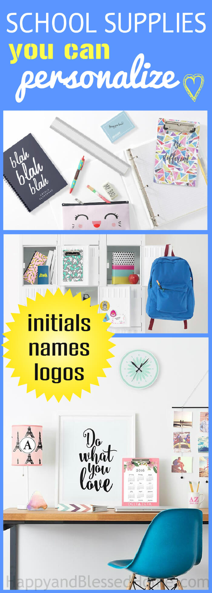 School Supplies you Can Personalize with either initials, logos and or names
